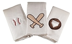 Baseball Set of 3 Burp Cloths