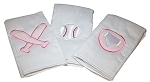 Baseball Set of 3 Burp Cloths- Pink