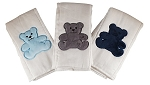 Teddy Bear 3 Piece Burp Cloth Set- Blue