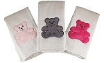 Teddy Bear 3 Piece Burp Cloth Set- Pink