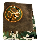Green Camo Blanket with Chocolate Minky