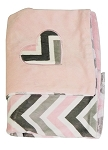 Chevron Mary Blanket w/Pink Minky