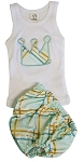 Aqua Plaid Diaper Cover & Tank Set