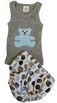 Blue & Grey Dot  Diaper Cover & Tank Set