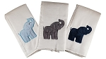 Elephants 3 Piece Burp Cloth Set- Blue