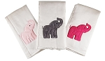 Elephants 3 Piece Burp Cloth Set- Pink