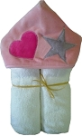 Heart & Star Minky on White Hooded Towel