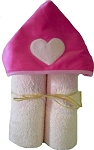 Heart Minky on Pink Hooded Towel