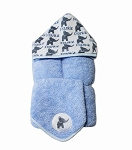 Personalized Blue Elephants Hooded Towel on Blue