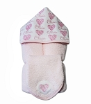 Personalized Hearts Hooded Towel on Pink