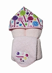 Lollipops Hooded Towel on Pink