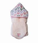Multi Hearts Hooded Towel on PInk w/washcloth