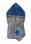 Navy Herringbone Hooded Towel on Grey