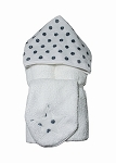 Silver Dot Hooded Towel on White