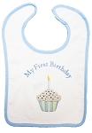 My First Birthday Large Bib- Blue