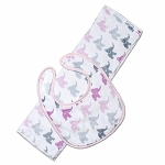 Elephants Pink Bib & Burp Set