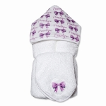 Personalized Bows Hooded Towel on White