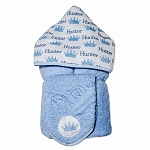 Personalized Crowns Hooded Towel on Blue