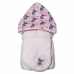 Personalized Pink Elephants Hooded Towel on Pink