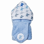 Elephants Blue Hooded Towel w/washcloth