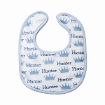 Personalized Blue Crowns Small Fabric Bib
