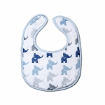 Elephant Blue Small Fabric Bib