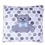 Blue Minky Dot Teddy Bear Pillow
