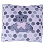 Pink Minky Dot Teddy Bear Pillow