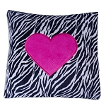 Zebra & Hot Pink Heart Pillow