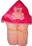 Bear Pink Minky on Pink Hooded Towel