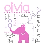 Pink Elephant Birth Announcement Pillow