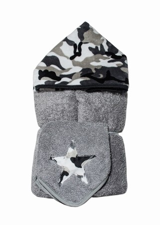 Grey Camo Hooded Towel on Grey