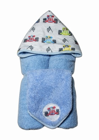 Race Cars Hooded Towel on Blue