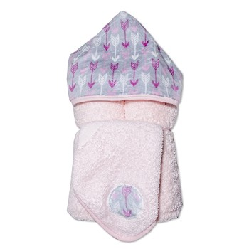 Arrows Pink Hooded Towel w/washcloth