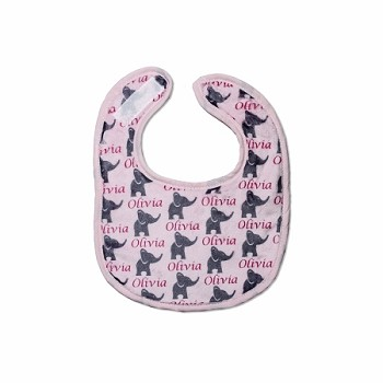 Personalized Pink Elephants Small Fabric Bib
