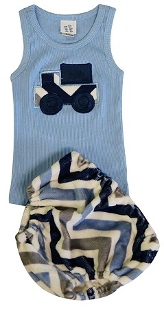 Denim Chevron Diaper Cover & Tank Set