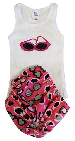 Sunglasses Diaper Cover & Tank Set