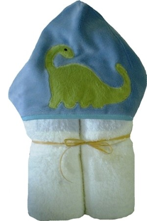 Dino Minky on White Hooded Towel