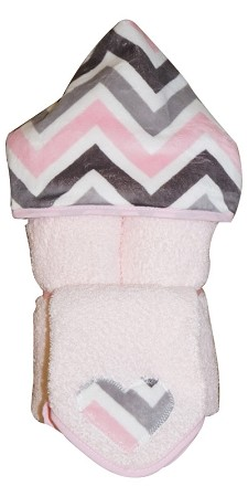 Chevron Mary Hooded Towel on Pink