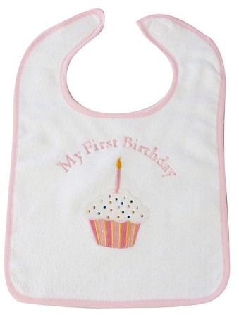 My First Birthday Large Bib- Pink