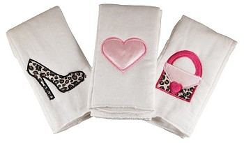 Shopping Gal 3 Piece Burp Cloth Set